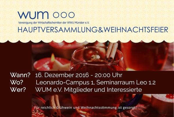 Hauptversammlung & Weihnachtsfeier am 16. Dezember 2016